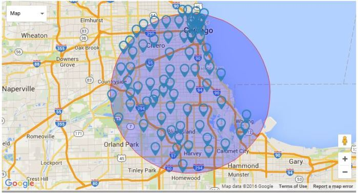 j m towing services chicago service area map